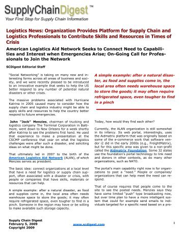 Logistics News: Organization Provides Platform for Supply Chain ...