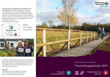 Veranstaltungs-kalender 2013 - im Biosphärenreservat Schaalsee