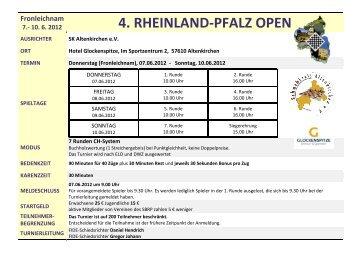Ausschreibung 4.Rheinland-Pfalz Open - Schachlinks