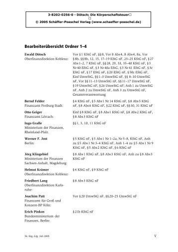 Liste der Bearbeiter - Schäffer-Poeschel Verlag GmbH