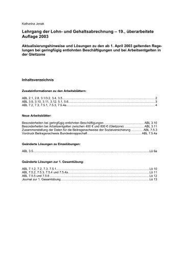 und Gehaltsabrechnung – 19., überarbeitete Auflage 2003