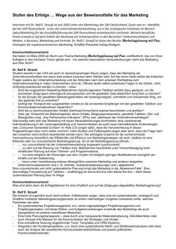 Interview mit Ralf E. Strauß - Schäffer-Poeschel Verlag GmbH