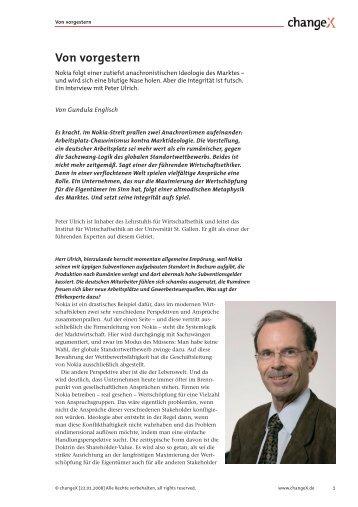Interview mit Peter Ulrich (PDF) - Schäffer-Poeschel Verlag GmbH
