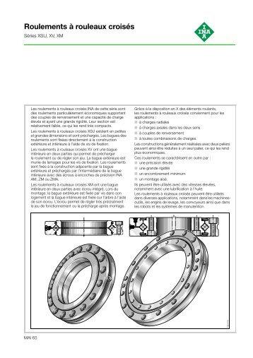 Roulements a rouleaux croises: Series XSU, XV, XM: MAI 65