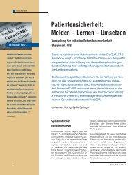 Patientensicherheit: Melden – Lernen – Umsetzen - Schaffler Verlag