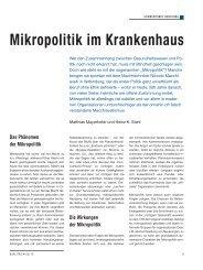 Mikropolitik im Krankenhaus - Schaffler Verlag