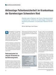 Aktionstage Patientensicherheit im Krankenhaus ... - Schaffler Verlag
