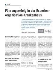 organisation Krankenhaus - Schaffler Verlag