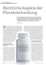 Rechtliche Aspekte der Placebobehandlung - Schaffler Verlag