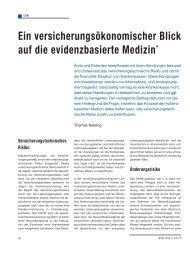 Ein versicherungsökonomischer Blick auf die ... - Schaffler Verlag