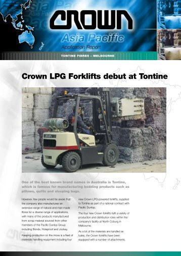 Crown LPG Forklifts debut at Tontine - Crown Equipment Corporation