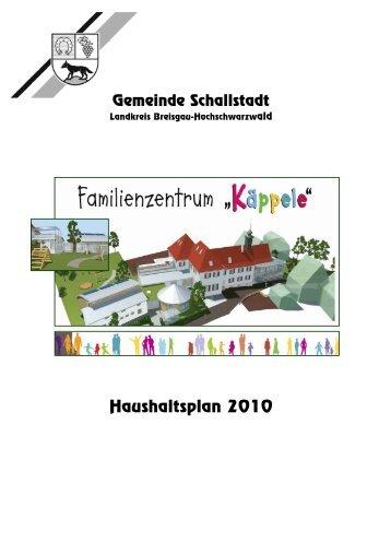 Haushaltsplan 2010 - Gemeinde.Schallstadt