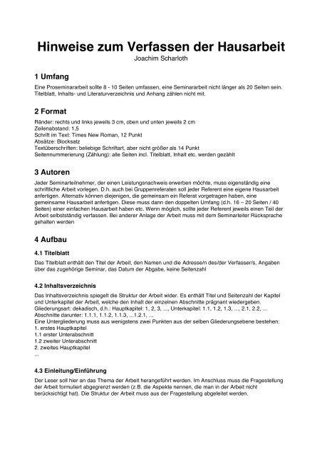 Hinweise Zum Verfassen Der Hausarbeit Joachim Scharloth