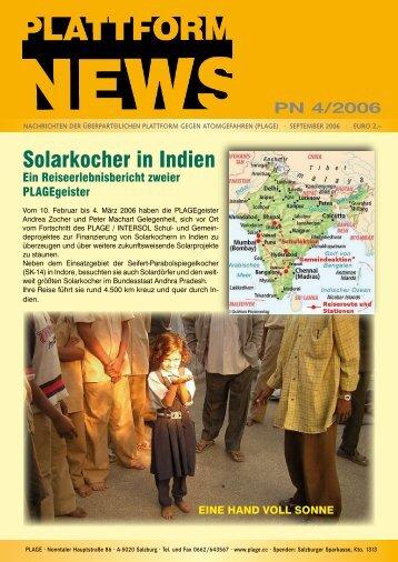 Plattform News 4/2006 (Solarkocher in Indien) - Plage