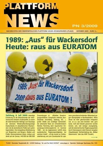 """1989: """"Aus"""" für Wackersdorf Heute: raus aus EURATOM ... - Plage"""