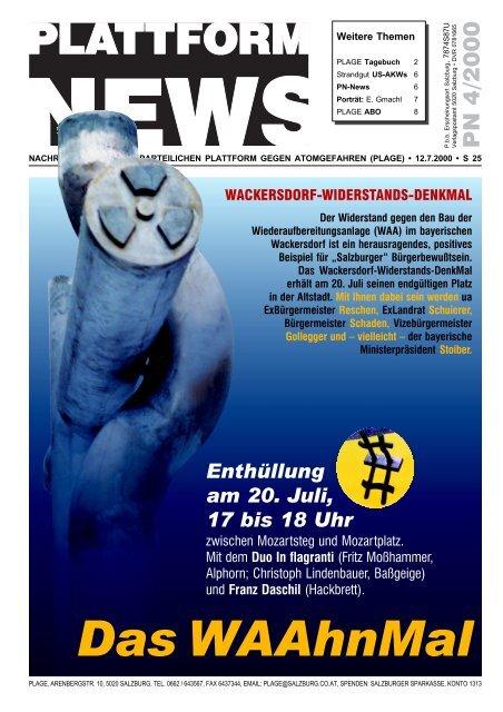 Plattform News 4/00 (Schwerpunkt WAA-Denkmal) - Plage