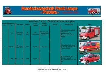 Verkauf von Einsatzfahrzeugen - Brandschutztechnik Lampe