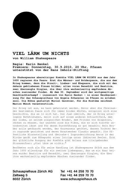 Medienmitteilung VIEL LÄRM UM NICHTS - Schauspielhaus Zürich