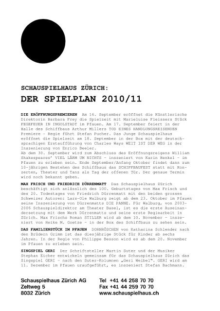 Medienmitteilung Schauspielhaus Zürich DER SPIELPLAN 2010-11