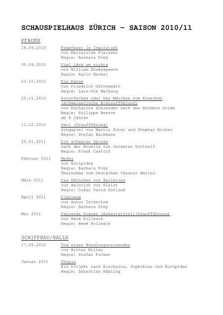 Premierenübersicht 2010/11 - Schauspielhaus Zürich