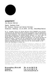 QUARTETT - Schauspielhaus Zürich