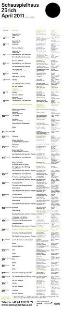 Spielplan April 2011 - Schauspielhaus Zürich