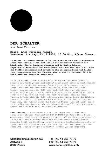 Medienmitteilung DER SCHALTER - Schauspielhaus Zürich
