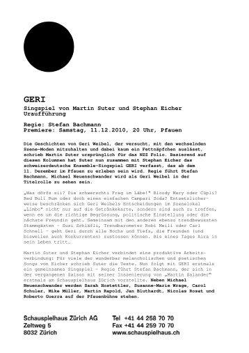 Medienmitteilung GERI - Schauspielhaus Zürich
