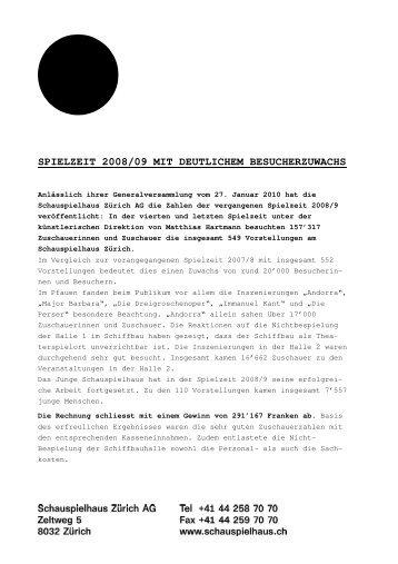 Geschäftsbericht Spielzeit 2008/09 - Schauspielhaus Zürich