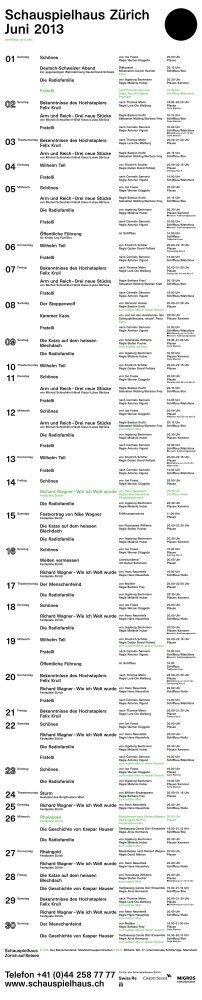 Spielplan Juni 2013 - Schauspielhaus Zürich