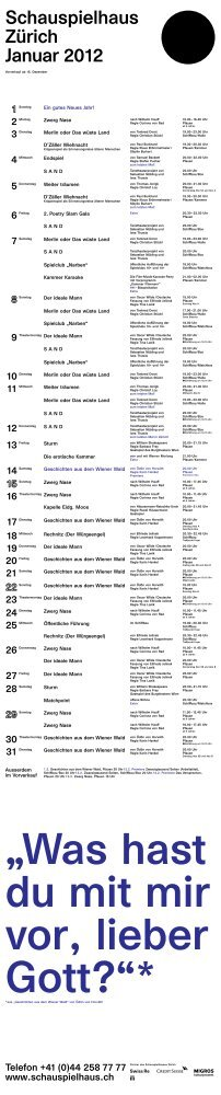 Spielplan Januar 2012 - Schauspielhaus Zürich