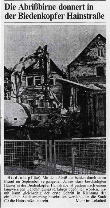 Die Abrißbirne donnert in der Biedenkopf er Hainstraße