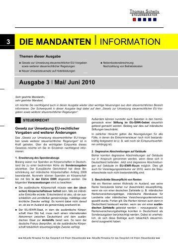 Ausgabe Mai/ Juni 2010 - Steuerberater Schelly Hamburg