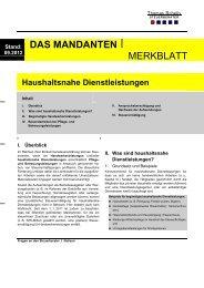 Haushaltsnahe Dienstleistungen - Steuerberater Schelly Hamburg