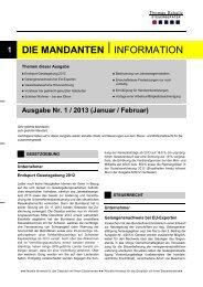 Ausgabe Januar/ Februar 2013 - Steuerberater Schelly Hamburg