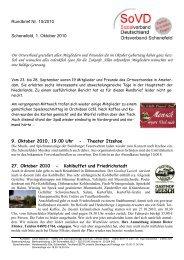 Rundbrief Nr. 10/2010 Schenefeld, 1. Oktober 2010 Der ...