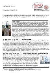 Rundbrief Nr. 6/2010 Schenefeld, 1. Juni 2010 Allen Mitgliedern und ...