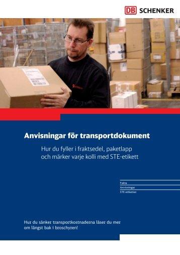 Anvisningar för transportdokument - Schenker