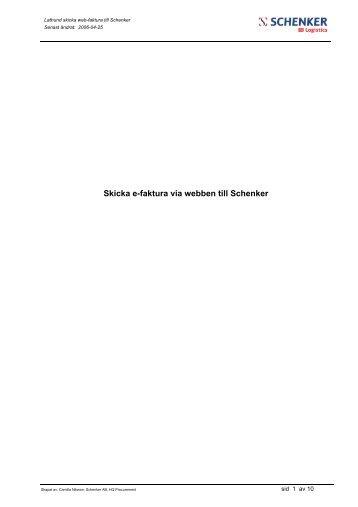 Skicka öppen web-faktura - Manual/Steg-för-steg - Schenker