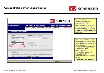Kundadministratörens manual - Schenker