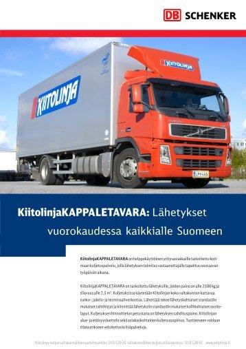 Lähetykset vuorokaudessa kaikkialle Suomeen - Schenker