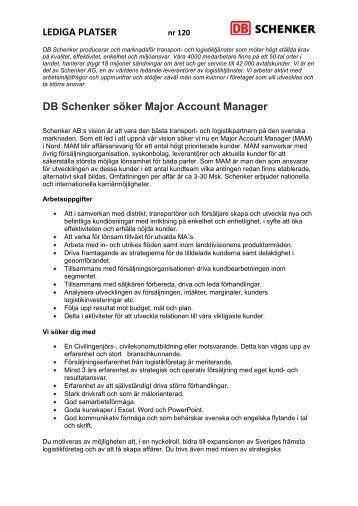 LEDIGA PLATSER DB Schenker söker Major Account Manager