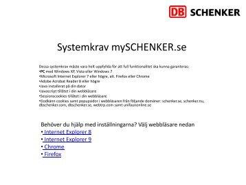 Systemkrav mySCHENKER.se