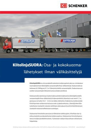 KiitolinjaSUORA: Osa- ja kokokuorma- lähetykset ilman ... - Schenker