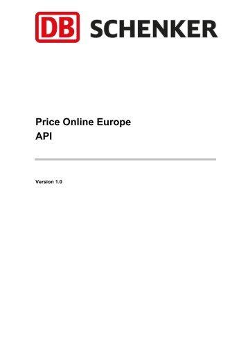 Price Online Europe API - Schenker