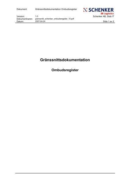 Gränssnittsdokumentation Ombudsregister 1.0 - Schenker