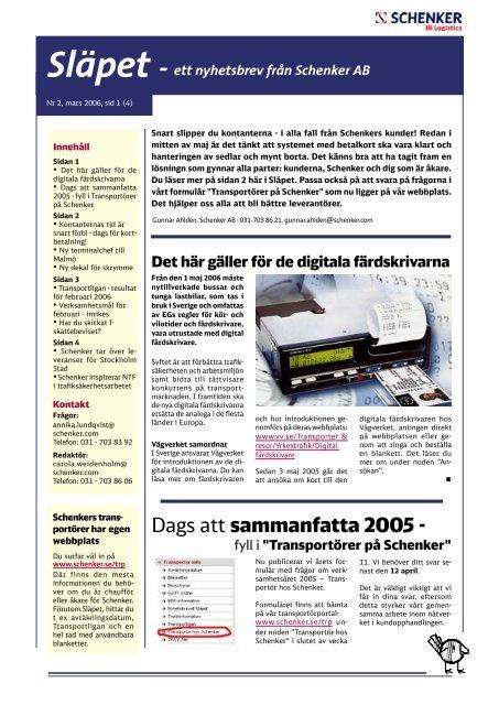 Dags att sammanfatta 2005 - - Schenker