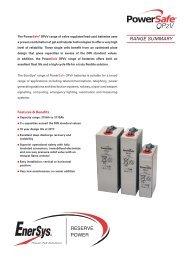 Range Summary - Enersys - EMEA