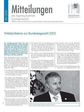 Wahlprüfsteine zur Bundestagswahl 2013