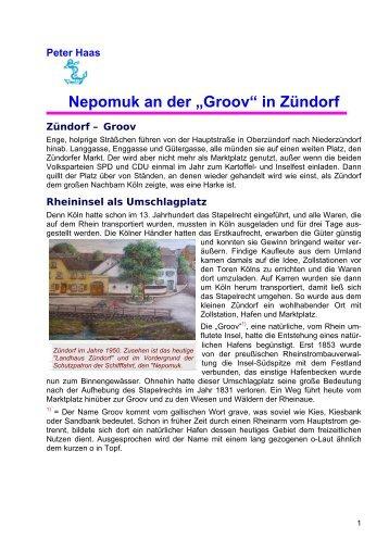 """Nepomuk an der """"Groov"""" in Zündorf"""
